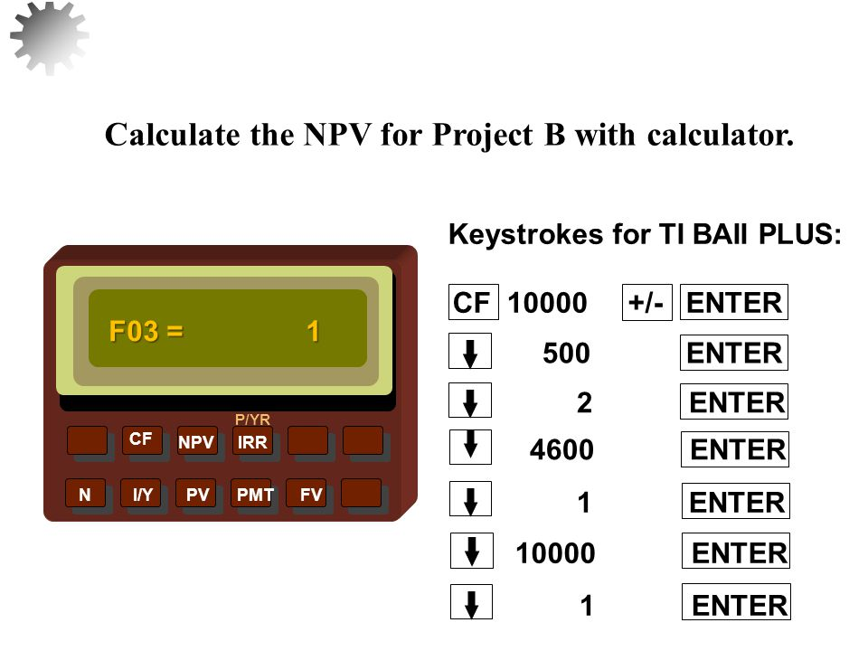 NPVIRR P/YR CF N I/Y PV PMT FV Calculate the NPV for Project B with calculator.