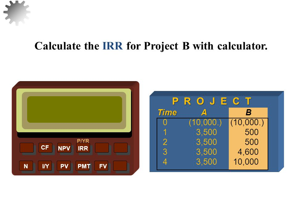 Enter CFs as for NPV NPVIRR P/YR CF N I/Y PV PMT FV Calculate the IRR for Project B with calculator.