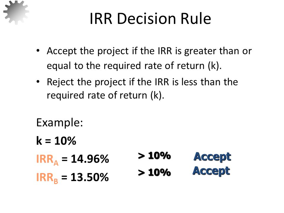 MIRR (Modified Internal Rate of Return) – This is the discount rate which causes the project's PV of the outflows to equal the project's TV (terminal value) of the inflows.