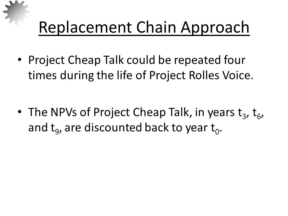 The NPVs of Project Cheap Talk, in years t 3, t 6, and t 9, are discounted back to year t 0, which results in an NPV of $12,121.