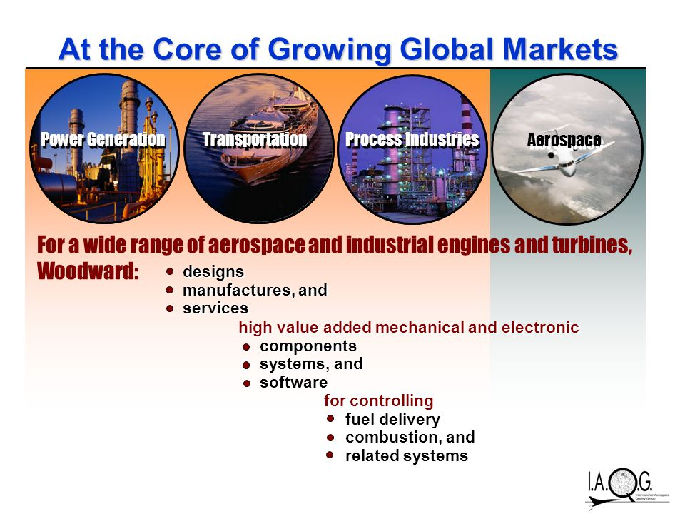 At the Core of Growing Global Markets Power Generation Transportation Process Industries Aerospace For a wide range of aerospace and industrial engines and turbines, Woodward: designs manufactures, and services designs manufactures, and services high value added mechanical and electronic components systems, and software high value added mechanical and electronic components systems, and software for controlling fuel delivery combustion, and related systems for controlling fuel delivery combustion, and related systems