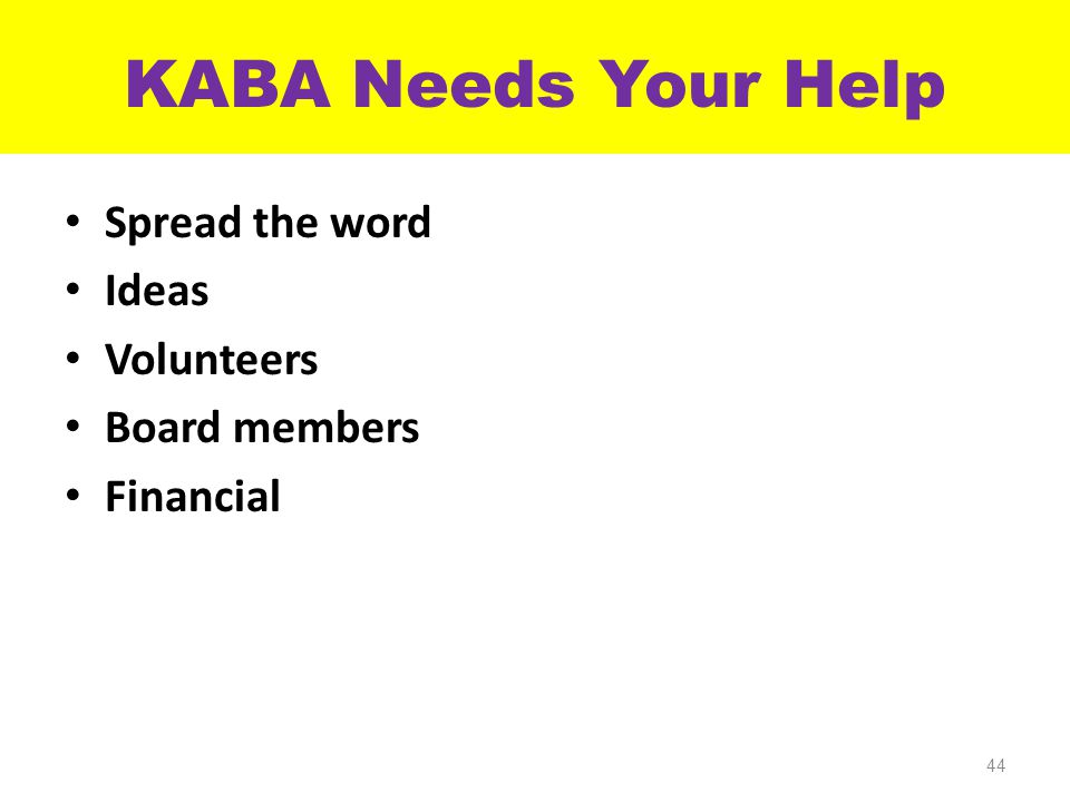 KABA Needs Your Help Spread the word Ideas Volunteers Board members Financial 44