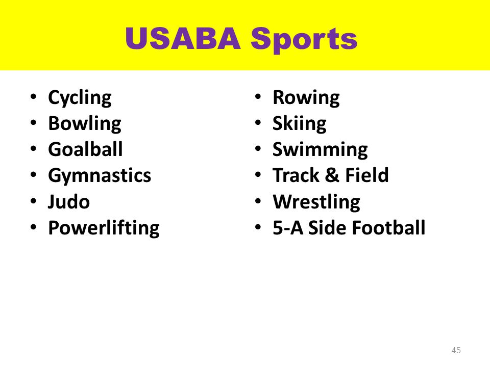 USABA Sports Cycling Bowling Goalball Gymnastics Judo Powerlifting Rowing Skiing Swimming Track & Field Wrestling 5-A Side Football 45