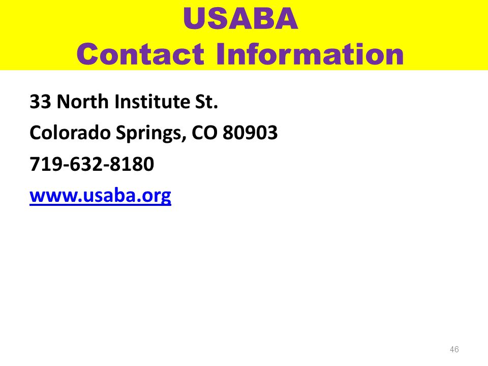 USABA Contact Information 33 North Institute St.