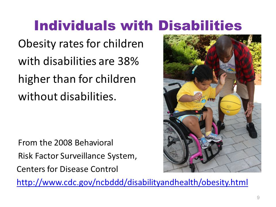 Individuals with Disabilities Obesity rates for children with disabilities are 38% higher than for children without disabilities. From the 2008 Behavi