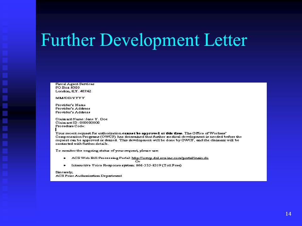 14 Further Development Letter