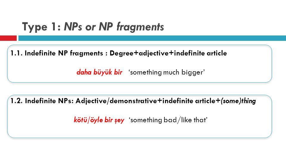 Type 1: NPs or NP fragments 1.1.