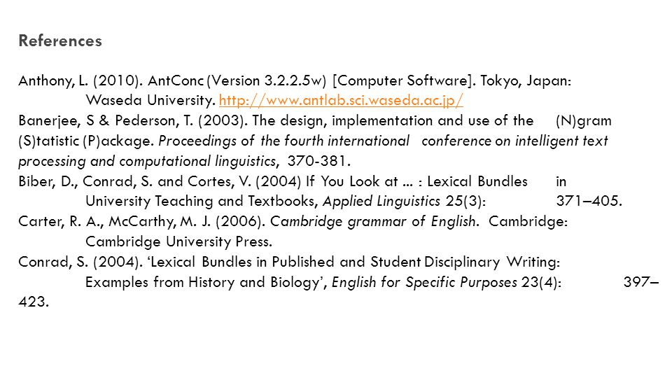 References Anthony, L. (2010). AntConc (Version 3.2.2.5w) [Computer Software].