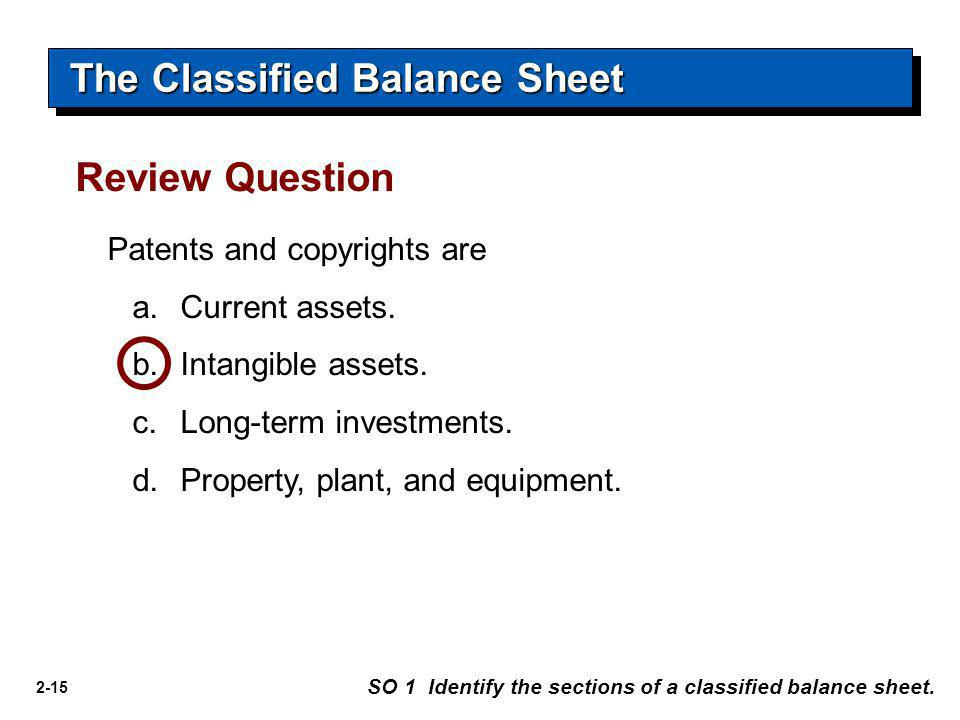 2-15 Patents and copyrights are a.Current assets. b.Intangible assets. c.Long-term investments. d.Property, plant, and equipment. Review Question The