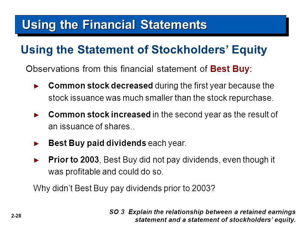 2-28 Using the Financial Statements SO 3 Explain the relationship between a retained earnings statement and a statement of stockholders' equity. Obser