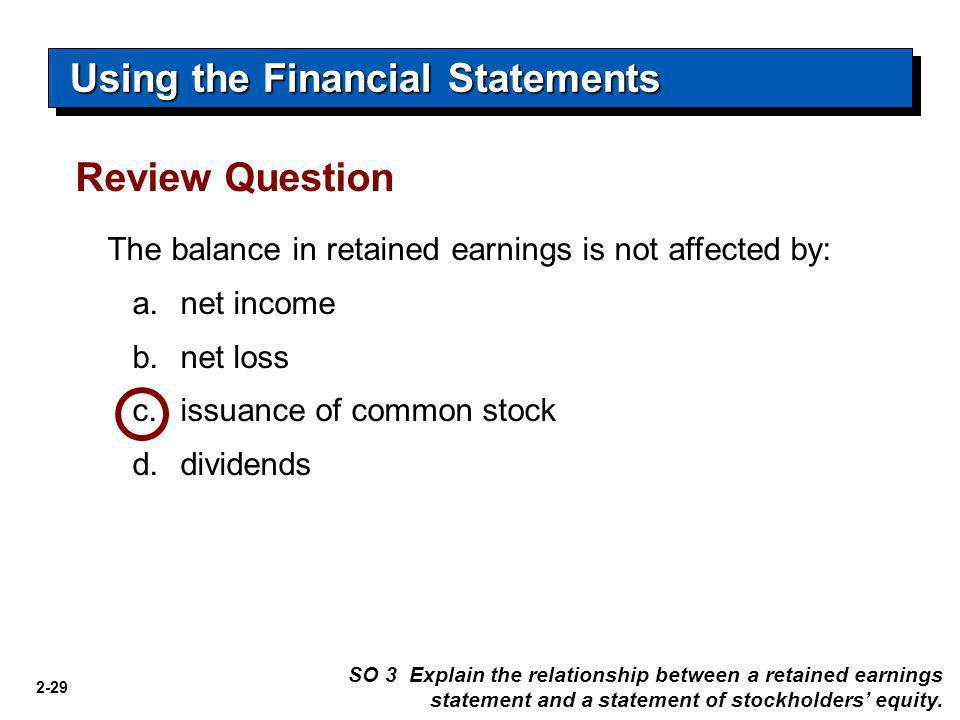 2-29 The balance in retained earnings is not affected by: a.net income b.net loss c.issuance of common stock d.dividends Review Question SO 3 Explain