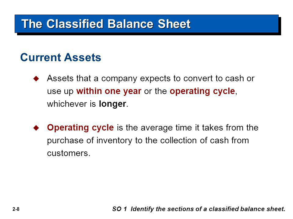 2-8 The Classified Balance Sheet SO 1 Identify the sections of a classified balance sheet.  Assets that a company expects to convert to cash or use u