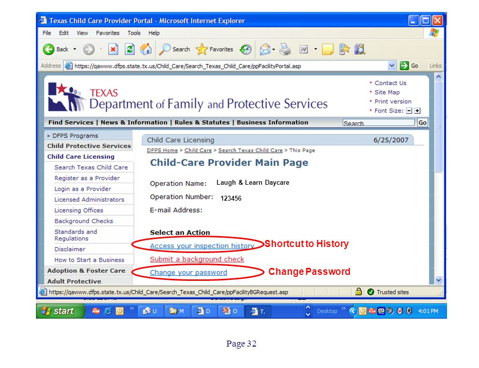 Page 32 Laugh & Learn Daycare 123456 Shortcut to History Change Password