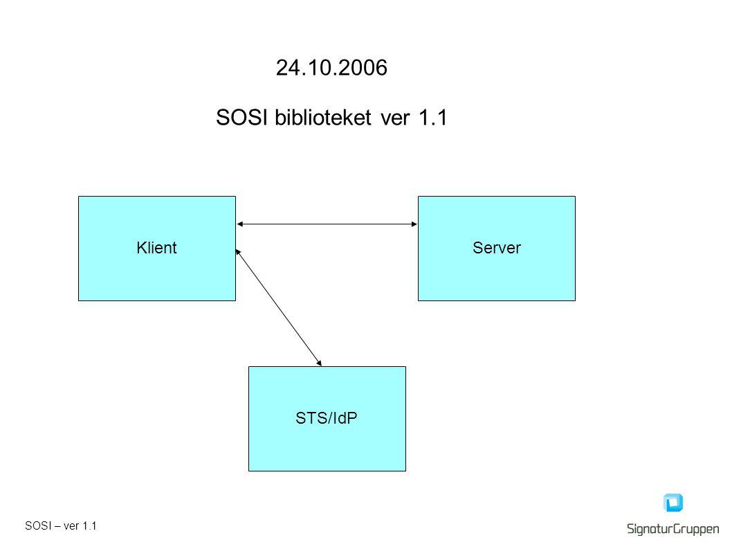 24.10.2006 SOSI biblioteket ver 1.1 KlientServer STS/IdP SOSI – ver 1.1