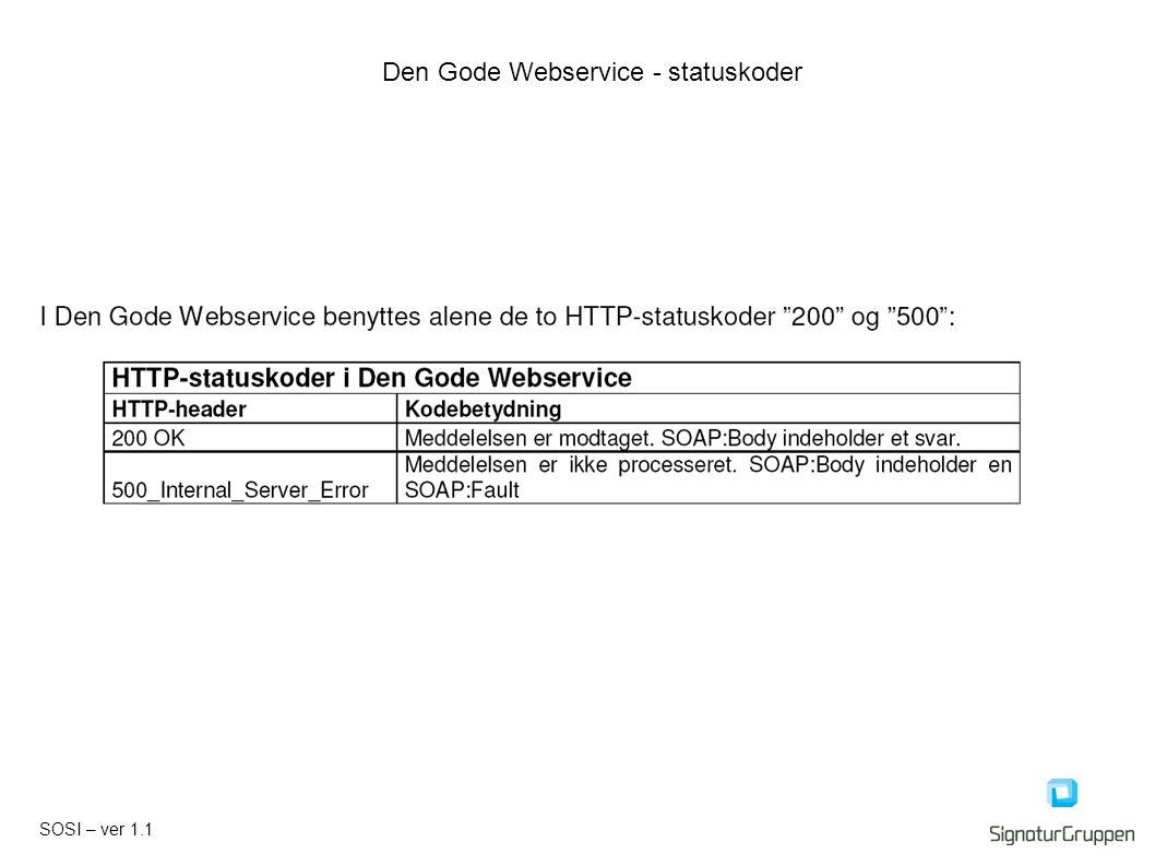 SOSI – ver 1.1 Den Gode Webservice - statuskoder
