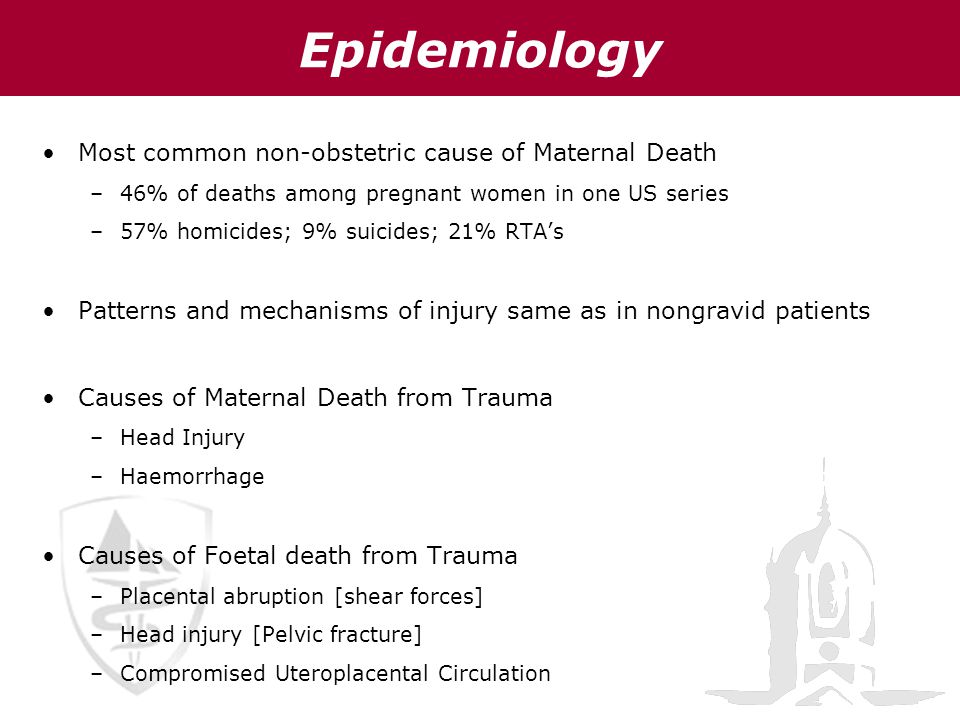 Epidemiology Most common non-obstetric cause of Maternal Death –46% of deaths among pregnant women in one US series –57% homicides; 9% suicides; 21% R