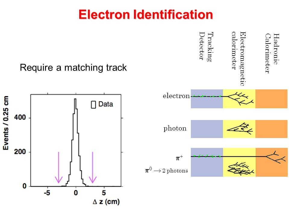Electron Identification Tracking Detector Electromagnetic calorimeter Hadronic Calorimeter electron photon ++  0  2 photons Require a matching tra