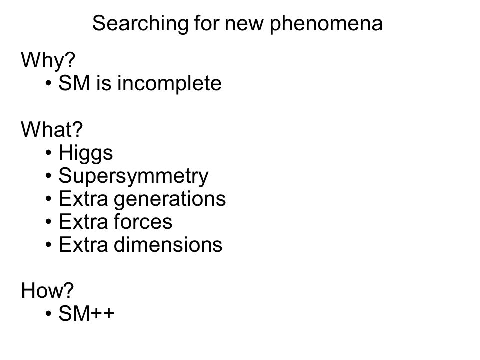 Searching for new phenomena Why? SM is incomplete What? Higgs Supersymmetry Extra generations Extra forces Extra dimensions How? SM++ Why? SM is incom