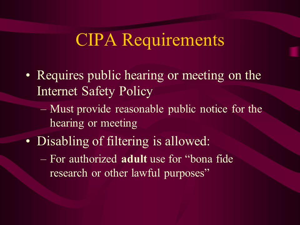 Court Actions ALA and ACLU lawsuits challenge the applicability of CIPA to libraries –May 15, 2001 ruling in U.S.