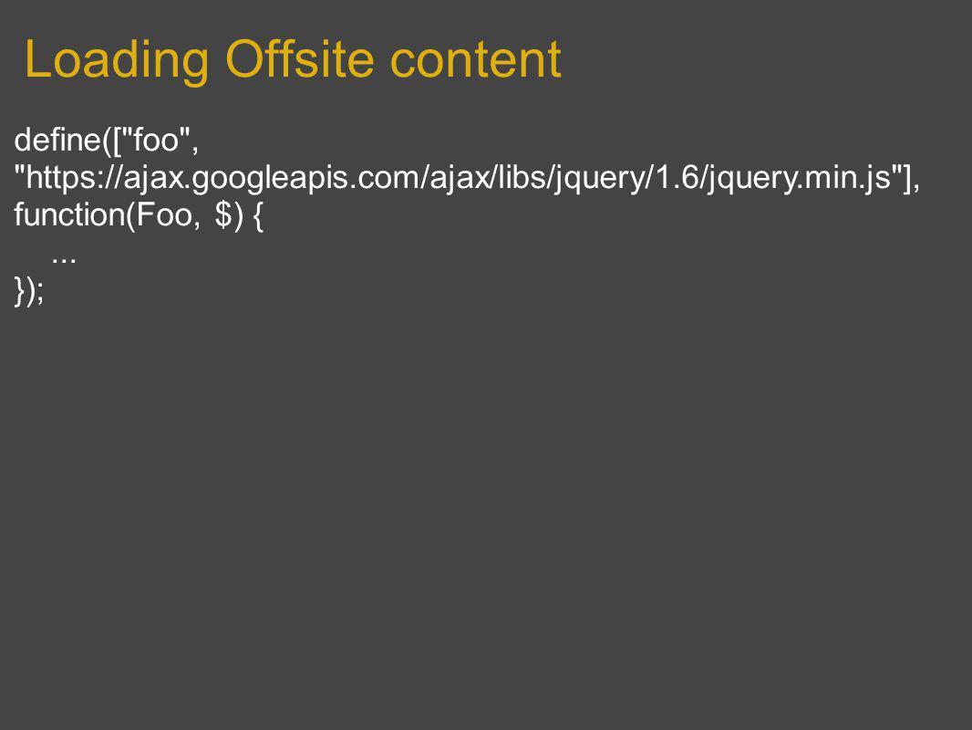 Loading Offsite content define([