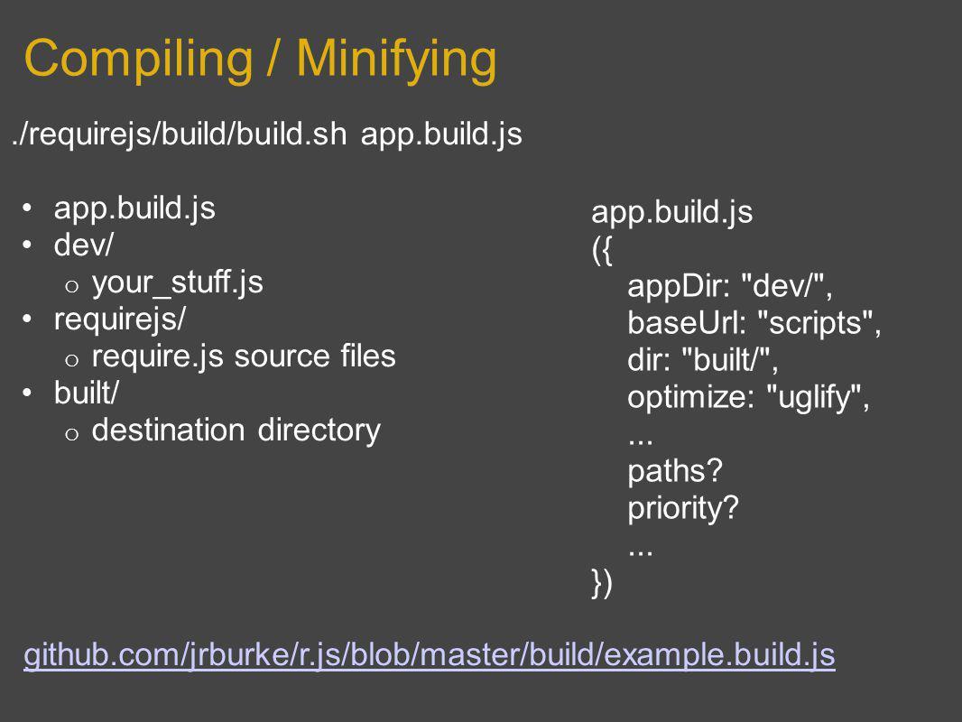 Compiling / Minifying./requirejs/build/build.sh app.build.js app.build.js dev/ o your_stuff.js requirejs/ o require.js source files built/ o destinati