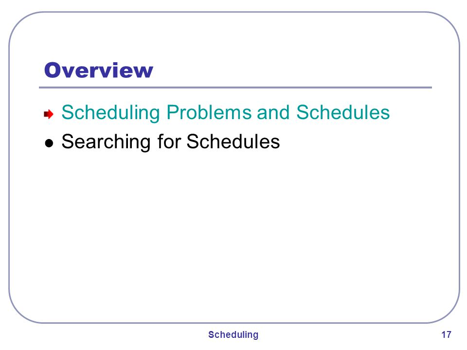 Scheduling 17 Overview Scheduling Problems and Schedules Searching for Schedules