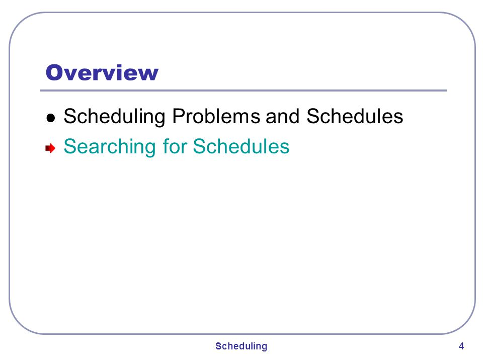 Scheduling 25 Initial Schedule and Evaluation generating random schedules: randomly choose an assignable action randomly choose a machine of the right resource type for that action append the action-machine pair to the list of assignments do this until all actions are assigned evaluating schedules: generate schedule from list apply optimization criterion