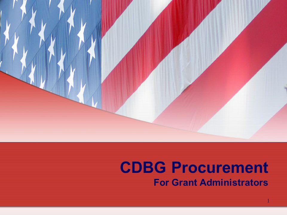 1 CDBG Procurement For Grant Administrators