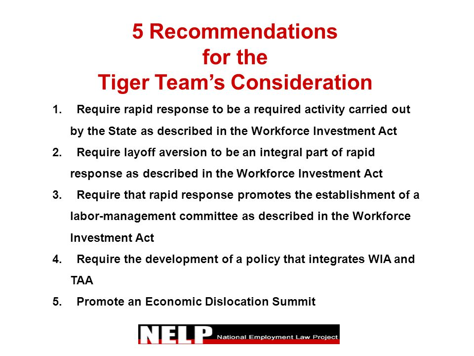 5 Recommendations for the Tiger Team's Consideration 1. Require rapid response to be a required activity carried out by the State as described in the