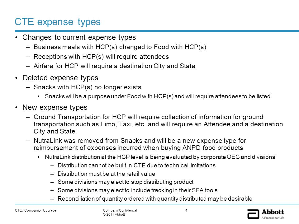 Additional data requirements New fields in some HCP expense types –Venue For expenses that involve food, Off-site or On-site must be selected –Sub Purpose 1 and Sub Purpose 2 Required when additional information is needed such as an expense related to consulting –National Clinical Trial number (NCT#) Required when a value transfer is related to consulting for a clinical trial –Product will be a required field Product selection cannot be made division specific, however the type ahead feature allows users to quickly find the product by typing a few characters of the product name and the most recently used feature will show the last ten products selected –Destination city and state Required on Airfare for HCP and Ground Transportation for HCP expense types –Mode of Transportation Required on Ground Transportation for HCP expense type CTE / Companion Upgrade5Company Confidential © 2011 Abbott