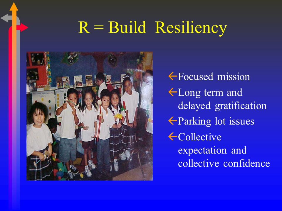 R = Build Resiliency ßFocused mission ßLong term and delayed gratification ßParking lot issues ßCollective expectation and collective confidence