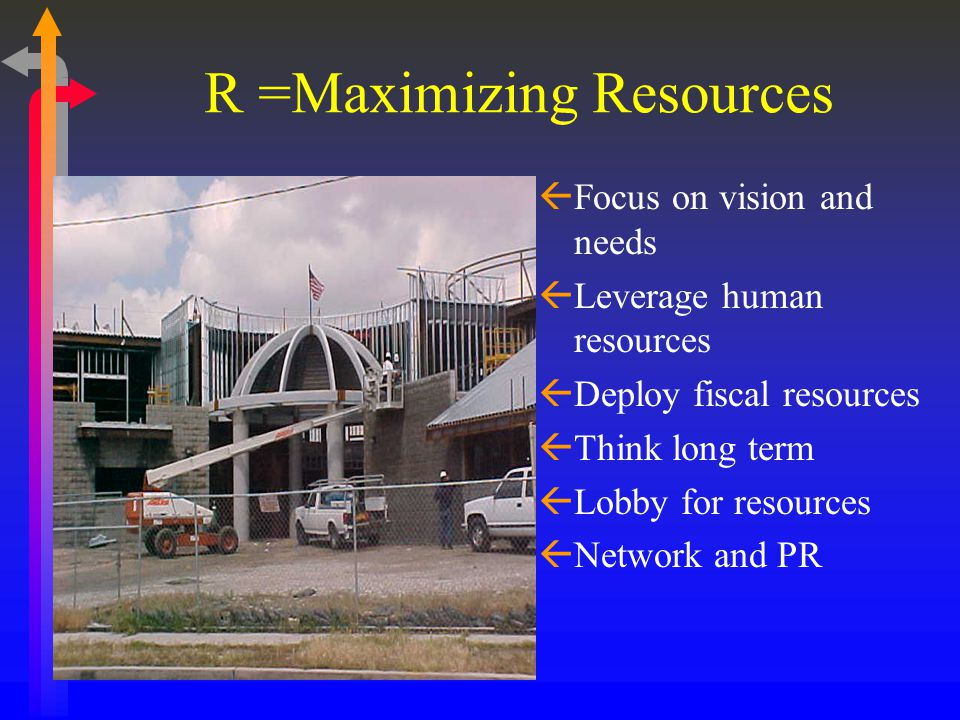 R =Maximizing Resources ßFocus on vision and needs ßLeverage human resources ßDeploy fiscal resources ßThink long term ßLobby for resources ßNetwork a