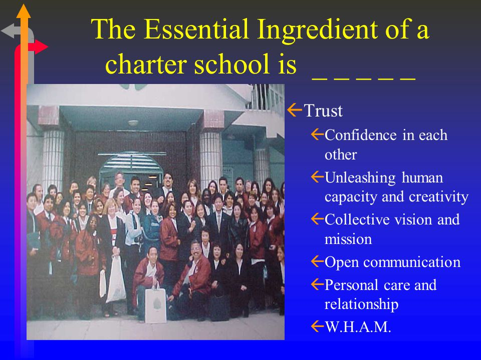 The Essential Ingredient of a charter school is _ _ _ _ _ ßTrust ßConfidence in each other ßUnleashing human capacity and creativity ßCollective vision and mission ßOpen communication ßPersonal care and relationship ßW.H.A.M.