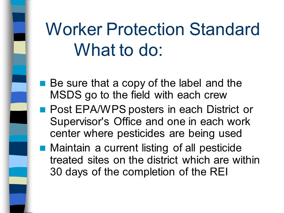 Worker Protection Standard What to do: Be sure that a copy of the label and the MSDS go to the field with each crew Post EPA/WPS posters in each District or Supervisor s Office and one in each work center where pesticides are being used Maintain a current listing of all pesticide treated sites on the district which are within 30 days of the completion of the REI