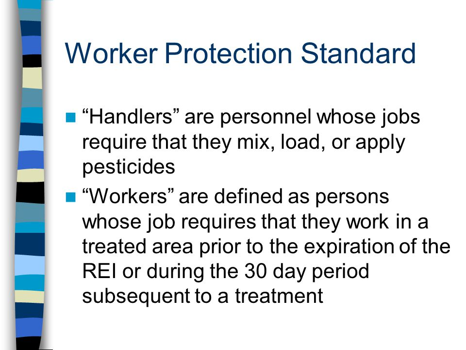 Worker Protection Standard Handlers are personnel whose jobs require that they mix, load, or apply pesticides Workers are defined as persons whose job requires that they work in a treated area prior to the expiration of the REI or during the 30 day period subsequent to a treatment