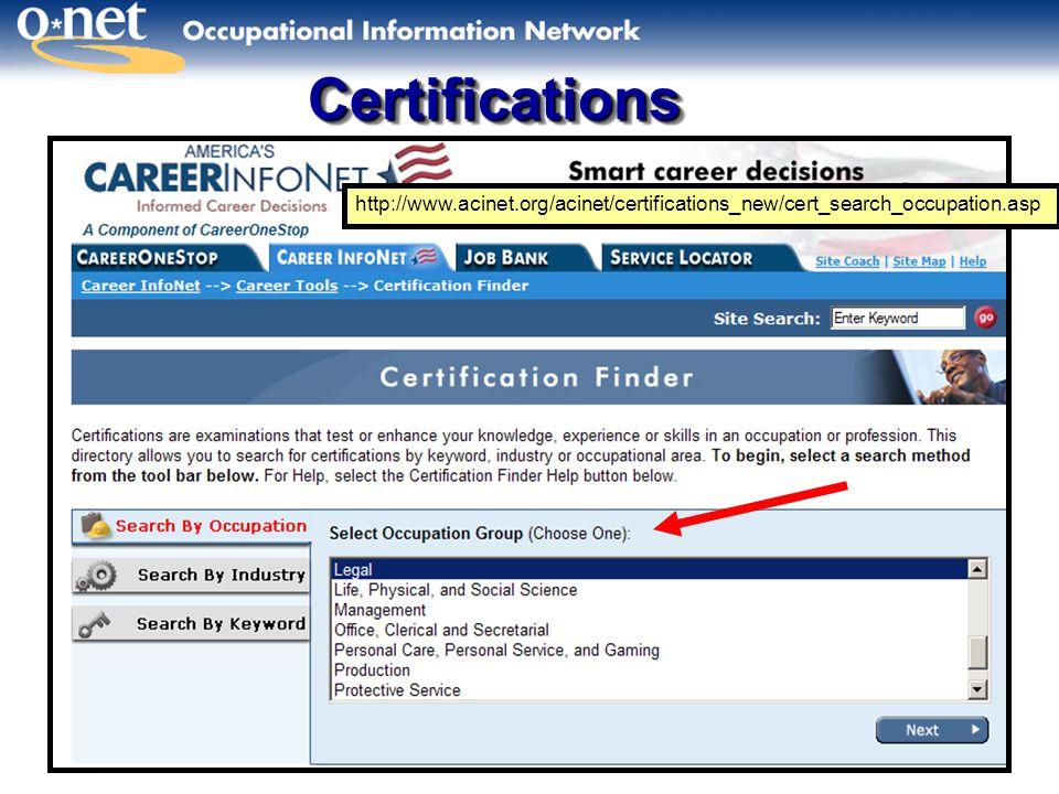 CertificationsCertifications http://www.acinet.org/acinet/certifications_new/cert_search_occupation.asp
