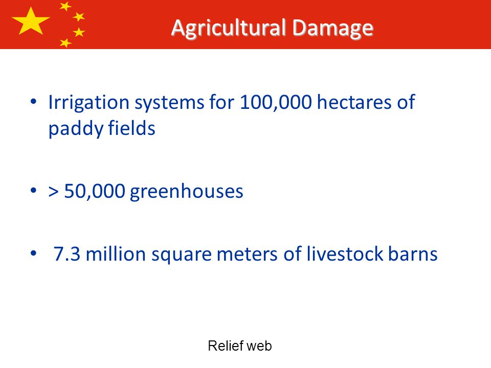 Irrigation systems for 100,000 hectares of paddy fields > 50,000 greenhouses 7.3 million square meters of livestock barns Agricultural Damage Relief web