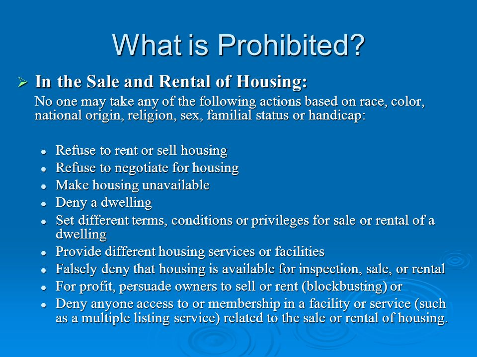 What is Prohibited.