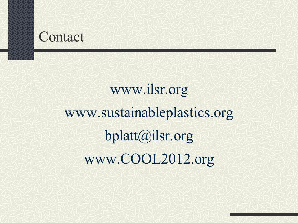 Contact www.ilsr.org www.sustainableplastics.org bplatt@ilsr.org www.COOL2012.org