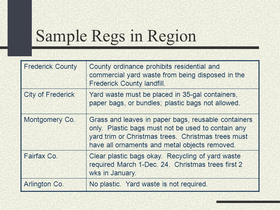 Sample Regs in Region Frederick CountyCounty ordinance prohibits residential and commercial yard waste from being disposed in the Frederick County landfill.