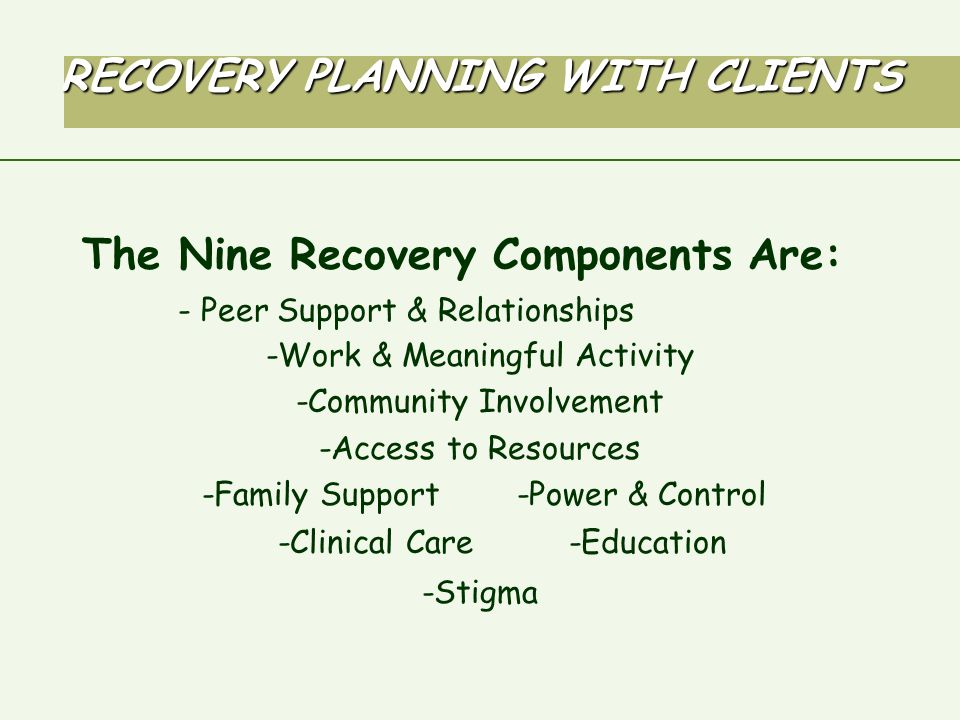 RECOVERY PLANNING WITH CLIENTS The Nine Recovery Components Are: - Peer Support & Relationships -Work & Meaningful Activity -Community Involvement -Access to Resources -Family Support -Power & Control -Clinical Care -Education -Stigma