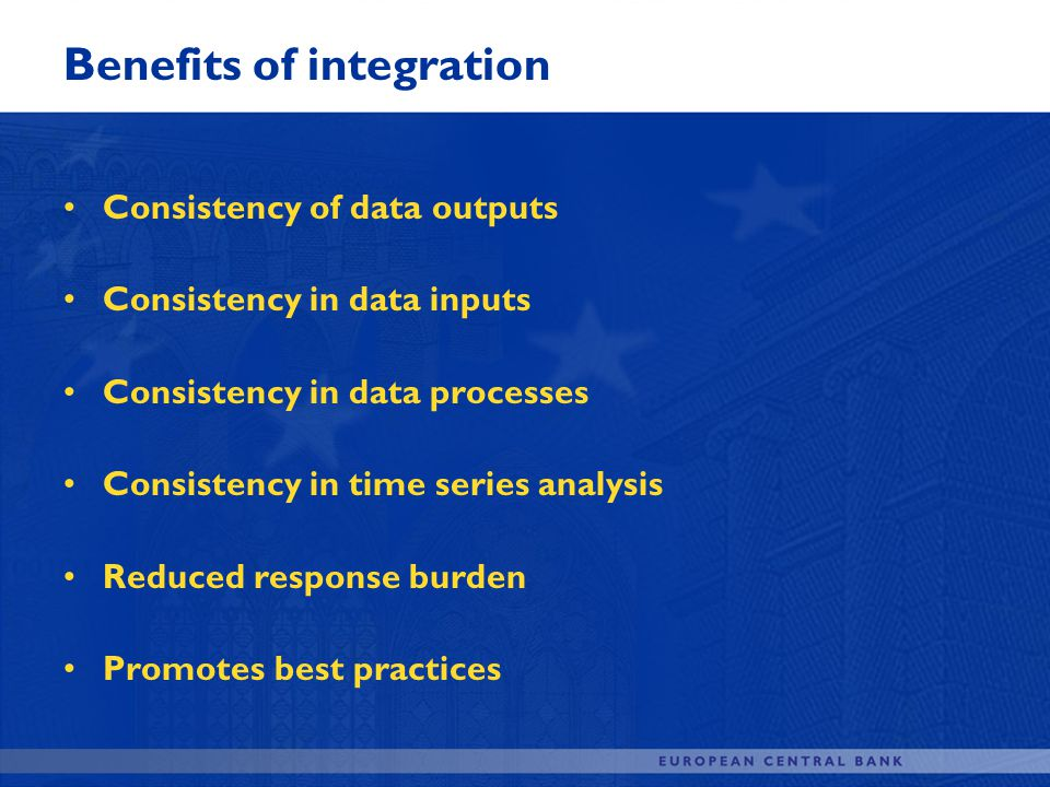 Benefits of integration Consistency of data outputs Consistency in data inputs Consistency in data processes Consistency in time series analysis Reduc