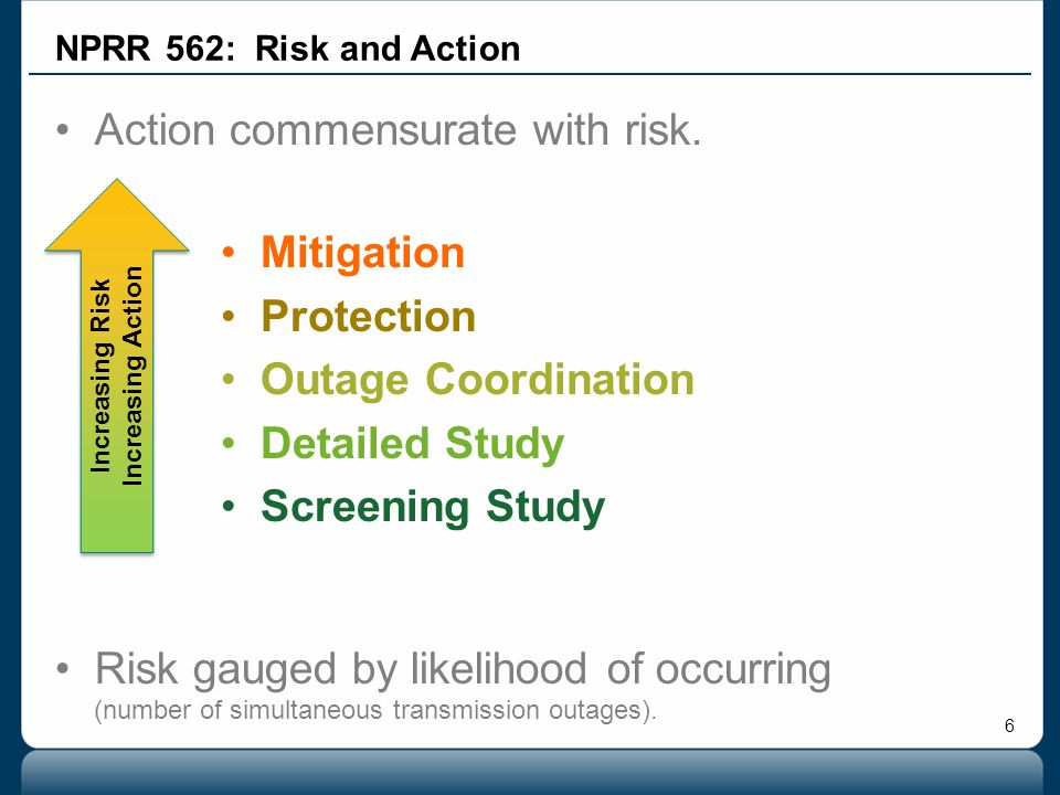 6 Action commensurate with risk. Risk gauged by likelihood of occurring (number of simultaneous transmission outages). Mitigation Protection Outage Co