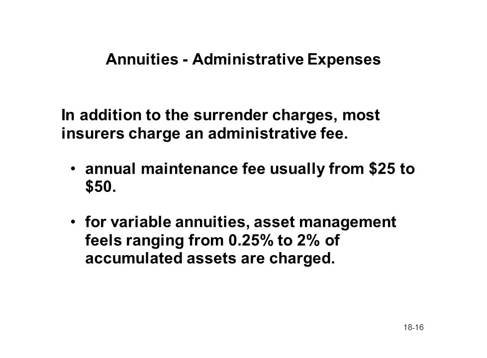 18-16 Annuities - Administrative Expenses In addition to the surrender charges, most insurers charge an administrative fee. annual maintenance fee usu