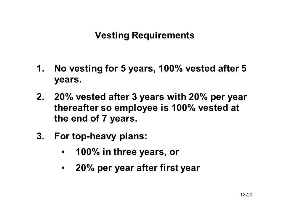 18-20 Vesting Requirements 1.No vesting for 5 years, 100% vested after 5 years. 2.20% vested after 3 years with 20% per year thereafter so employee is