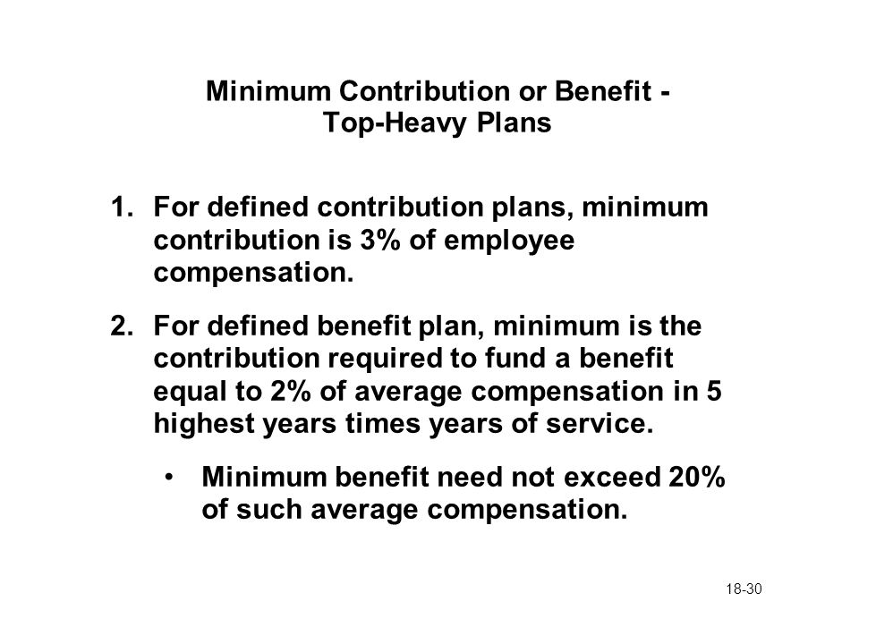 18-30 Minimum Contribution or Benefit - Top-Heavy Plans 1.For defined contribution plans, minimum contribution is 3% of employee compensation. 2.For d