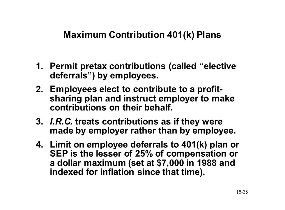 "18-35 Maximum Contribution 401(k) Plans 1.Permit pretax contributions (called ""elective deferrals"") by employees. 2.Employees elect to contribute to a"