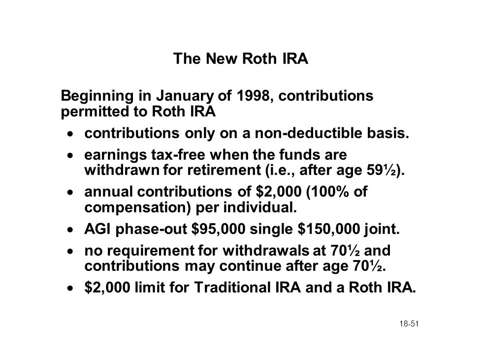 18-51 The New Roth IRA Beginning in January of 1998, contributions permitted to Roth IRA  contributions only on a non-deductible basis.  earnings ta