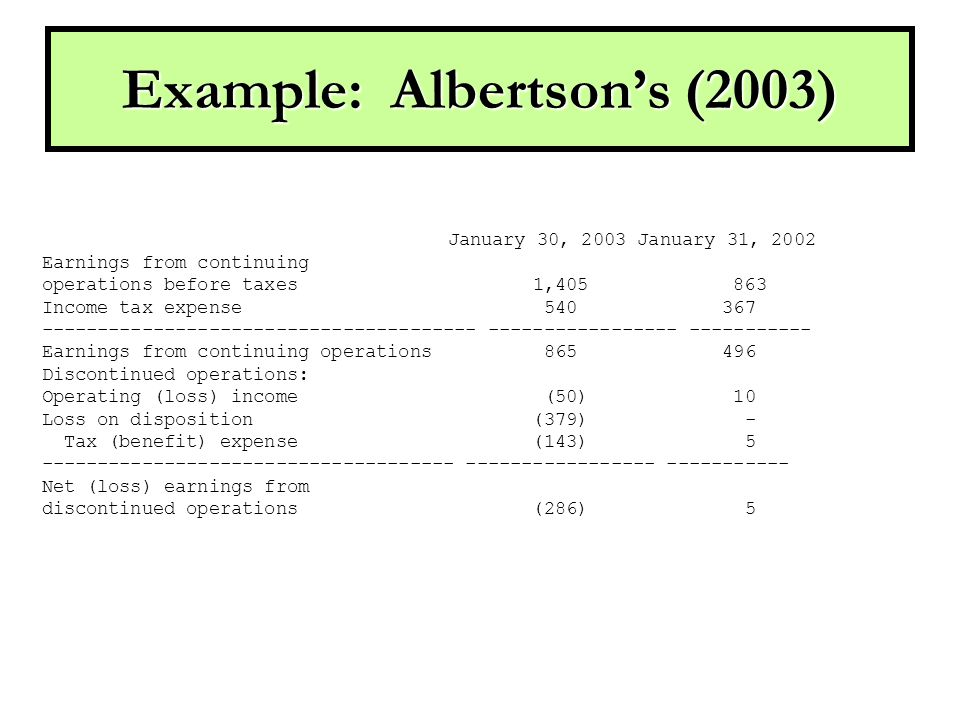 Example: Albertson's (2003) January 30, 2003 January 31, 2002 Earnings from continuing operations before taxes 1,405 863 Income tax expense 540 367 --------------------------------------- ----------------- ----------- Earnings from continuing operations 865 496 Discontinued operations: Operating (loss) income (50) 10 Loss on disposition (379) - Tax (benefit) expense (143) 5 ------------------------------------- ----------------- ----------- Net (loss) earnings from discontinued operations (286) 5
