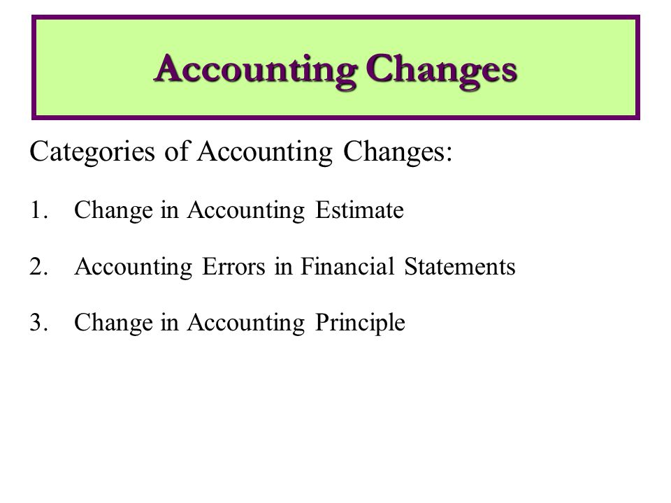 Categories of Accounting Changes: 1.Change in Accounting Estimate 2.Accounting Errors in Financial Statements 3.Change in Accounting Principle Accounting Changes